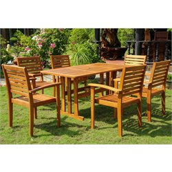 International Caravan Badalona 7 Piece Wood Patio Dining Set