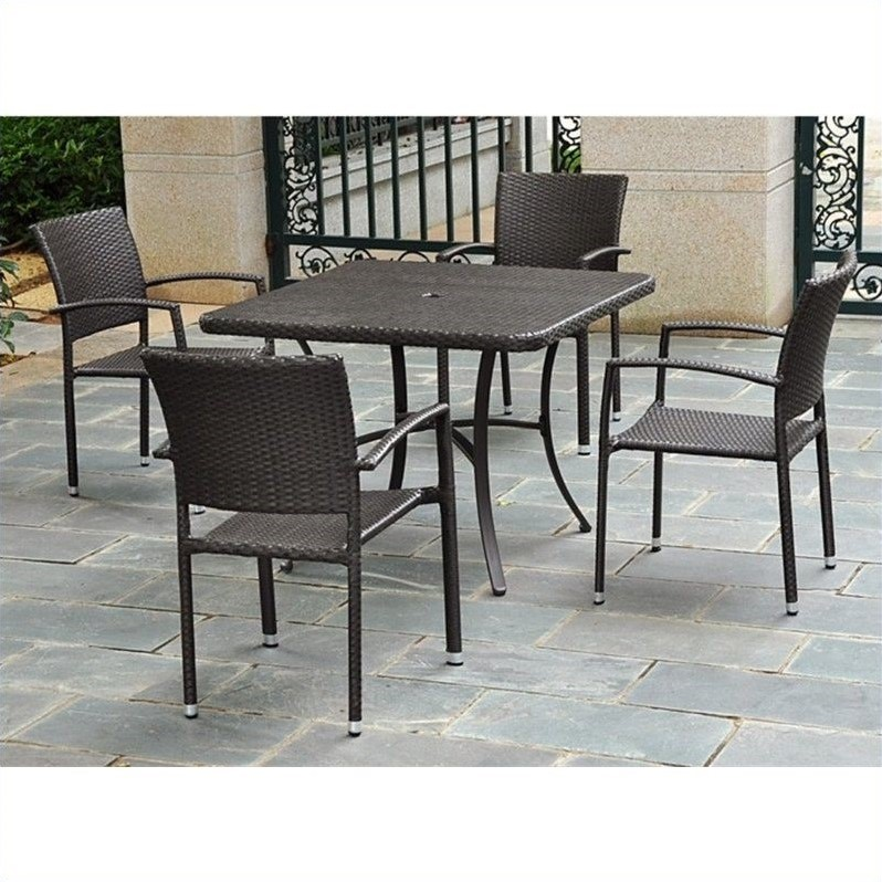 5 Piece Wicker Patio Dining Set