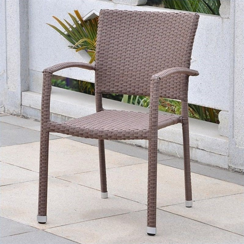 International Caravan Barcelona Resin Wicker/Aluminum Patio Dining Chair (Set of 2)
