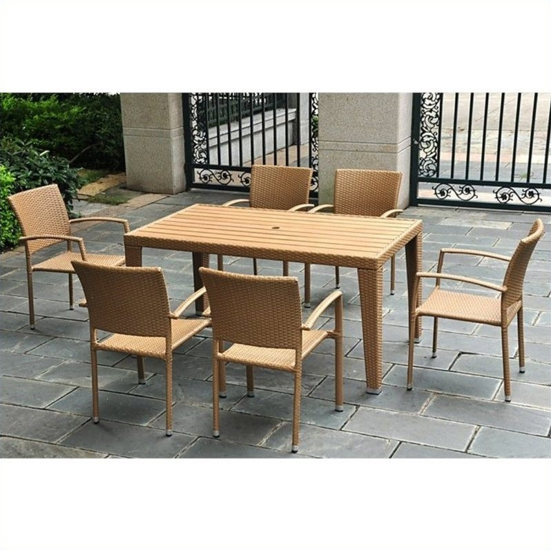Barcelona 7 Piece Wicker Patio Dining Set