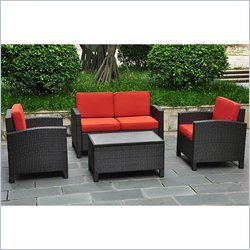 International Caravan Barcelona 4 Piece Patio Set with Storage in Red