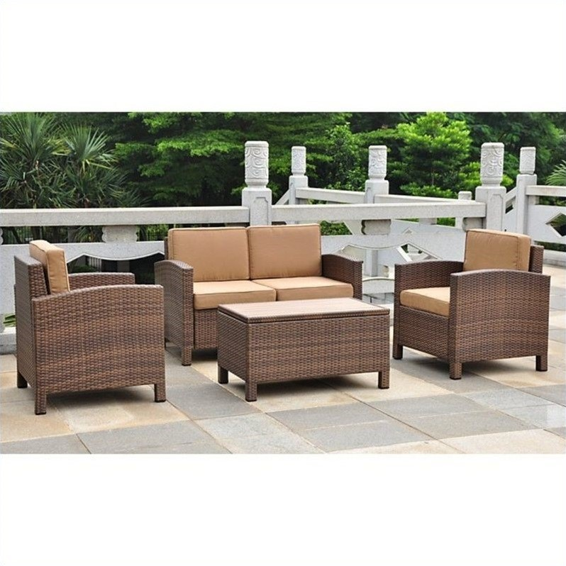 Barcelona 4 PCS Patio Set with Storage in Brown