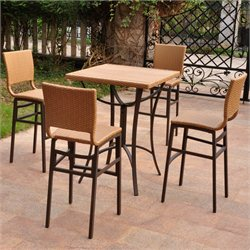 Wicker 5-Piece Patio Set in Honey Pecan