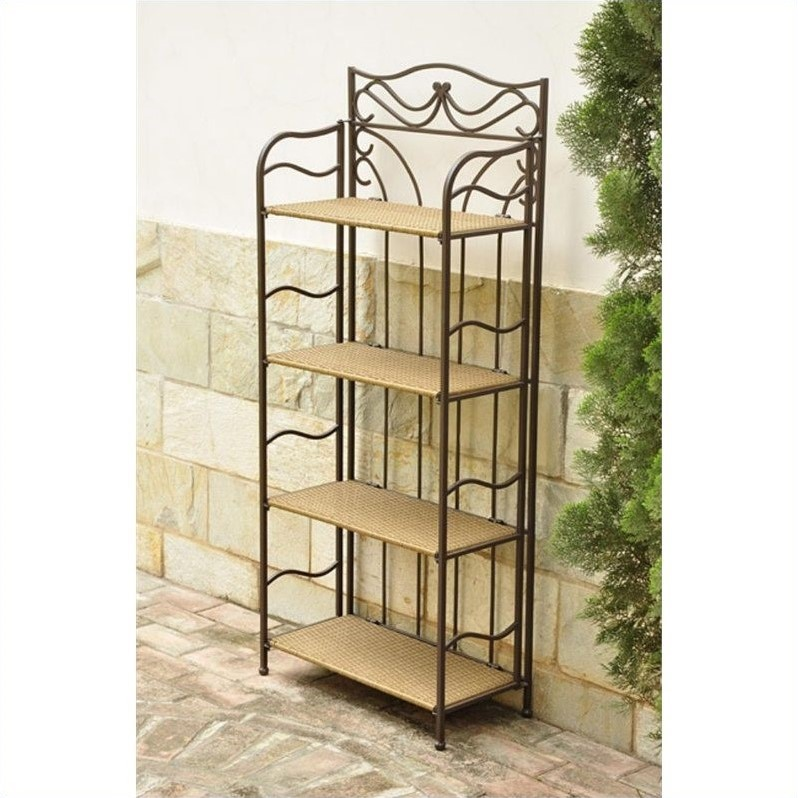 International Caravan Valencia 4-Tier Wide Wicker Plant Shelf in Honey