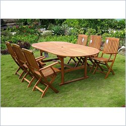 International Caravan Royal Tahiti 7 Piece Wood Patio Dining Set