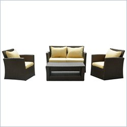 International Caravan St. Lucia 4 Piece Patio Set in Touch of Gold
