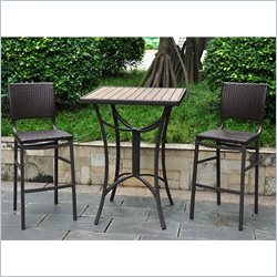 3-Piece Wicker Bistro Set in Chocolate