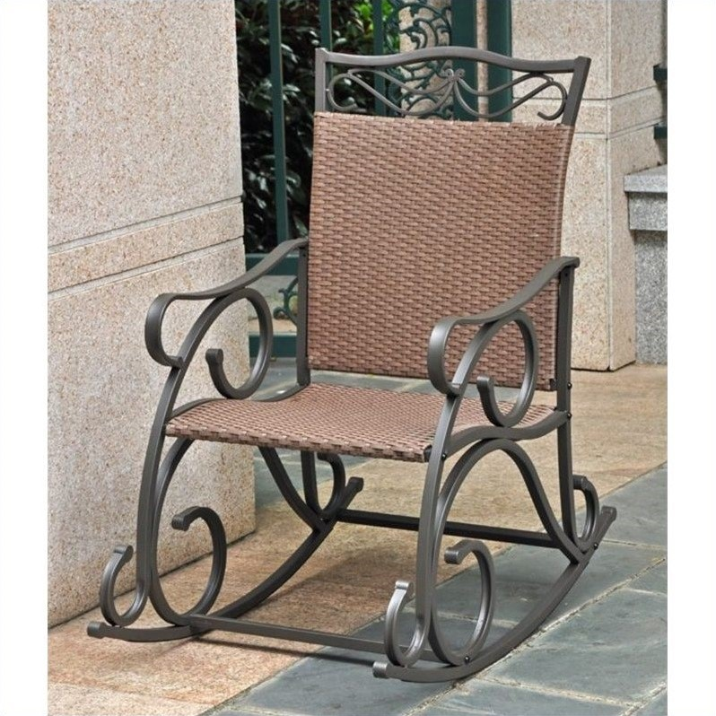 Patio Rocking Chair In Antique Brown