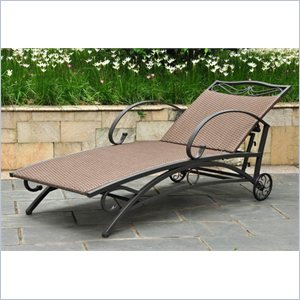 International Caravan Valencia Patio Chaise Lounge in Antique Brown