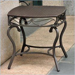 International Caravan Lisbon Wicker Patio Side Table in Chocolate