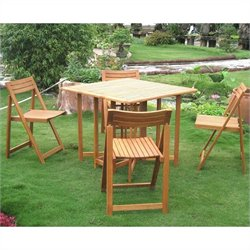International Caravan Royal Tahiti 5 Piece Wood Patio Dining Set