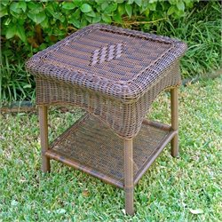 International Caravan Chelsea Resin Wicker/Steel 2-Tier Patio Side Table
