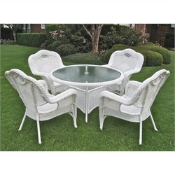 International Caravan 5 Piece Wicker Patio Dining Set