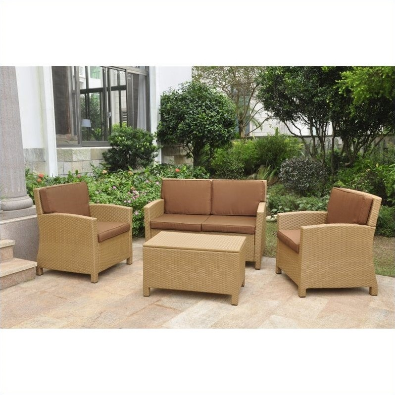 Valencia 4 Piece Outdoor Patio Settee Set in Honey and Dark Chocolate