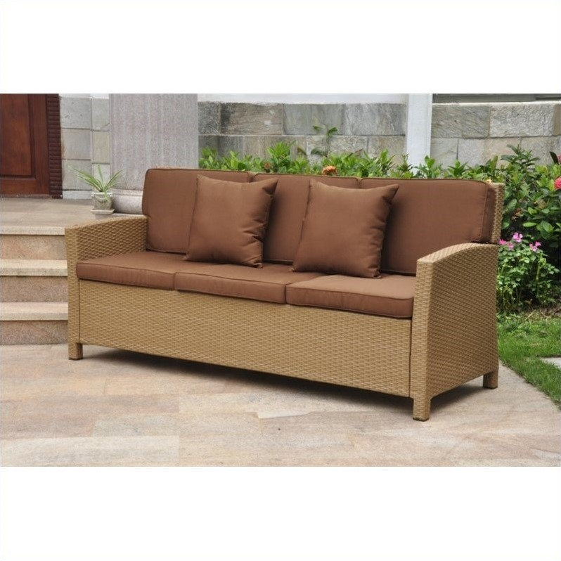Outdoor Patio Sofa in Honey and Dark Chocolate