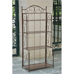 International Caravan Mandalay Iron Folding 4-Tier Indoor/Outdoor Bakers Rack