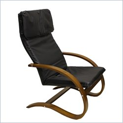 International Caravan Stockholm Contemporary Faux Leather Lounge Chair - Black