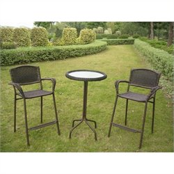 3 Piece Outdoor Patio Pub Set