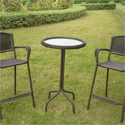 International Caravan Bradford Glass Top Outdoor Patio Pub Table