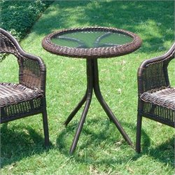 International Caravan Bradford Glass Top Outdoor Patio Bistro Table