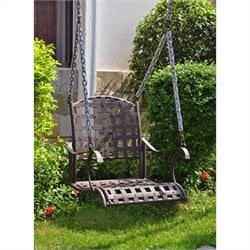 International Caravan Santa Fe Iron Nailhead Hanging Porch Swing