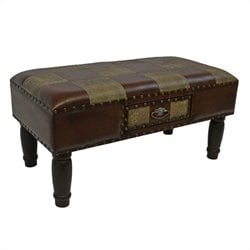 International Caravan Windsor Faux Leather Storage Bench in Mix Pattern