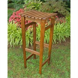International Caravan Highland Acacia Backless Patio Bar Stool (Set of 2)