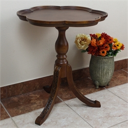International Caravan Windsor Scalloped Round Table in Walnut