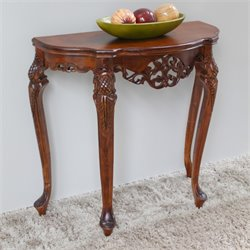 International Caravan Windsor Half Moon Console Table in Walnut