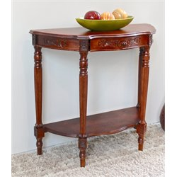 International Caravan Windsor Mozie Half Moon Console Table in Walnut