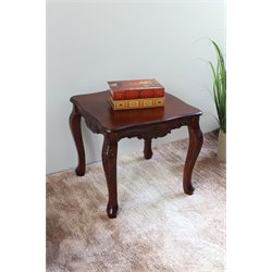 International Caravan Windsor Hand-Carved Square End Table