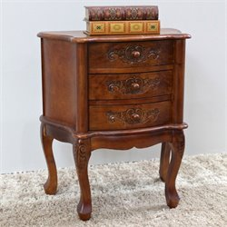 International Caravan Windsor 3 Drawer Accent End Table in Walnut
