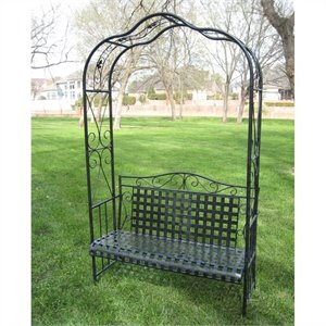Wrought Iron Outdoor Arbor Bench in Antique Black