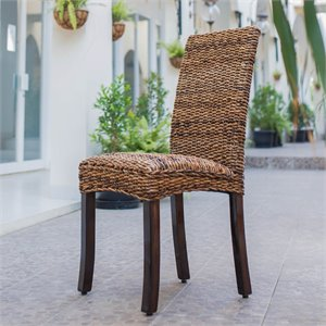 Woven Abaca Cushion Dining Chair (Set of 2)
