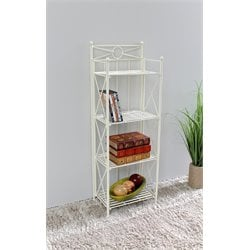 International Caravan Camden 4 Tier Folding Bakers Rack in White