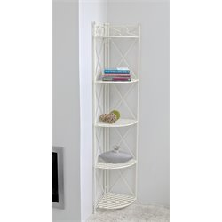 International Caravan Camden 5 Tier Folding Bakers Rack in White
