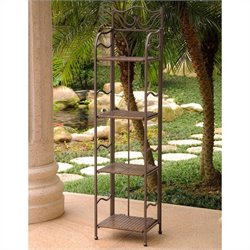 International Caravan Valencia Resin Wicker/Steel 4-Tier Folding Patio Bakers Rack