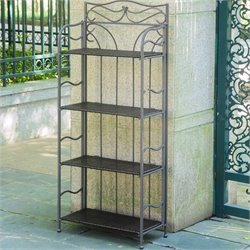 International Caravan Valencia Folding Bakers Rack in Chocolate