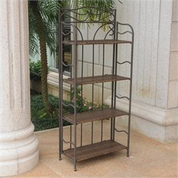 International Caravan Valencia Folding Bakers Rack in Antique Brown