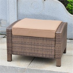 International Caravan Barcelona Patio Ottoman in Coffee