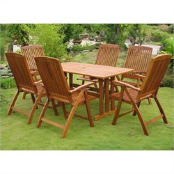International Caravan La Coruna 7 Piece Wicker Patio Dining Set
