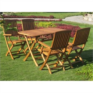 Almeria 5 Piece Wood Patio Dining Set in Natural