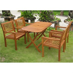 International Caravan Sitges 5 Piece Patio Dining Set in Natural