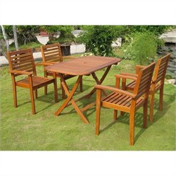 International Caravan Seva 5 Piece Wood Patio Dining Set in Natural