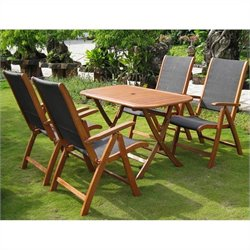 International Caravan Tordera 5 Piece Wood Patio Dining Set in Natural