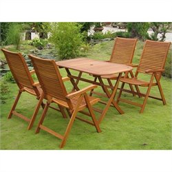 International Caravan Vendrell 5 Piece Wood Patio Dining Set