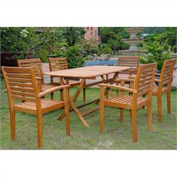 International Caravan Vilanova 7 Piece Wood Patio Dining Set