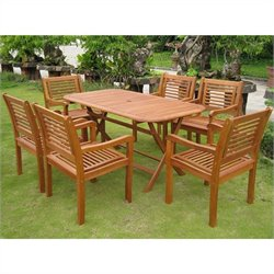 International Caravan Girona 7 Piece Wood Patio Dining Set in Natural