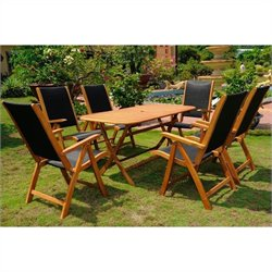 International Caravan Lourdes 7 Piece Wood Patio Dining Set in Natural