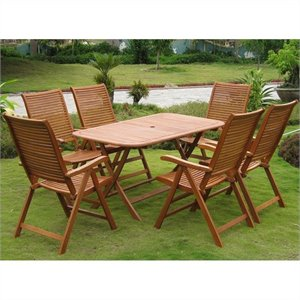 Aviles 7 Piece Wood Patio Dining Set in Natural